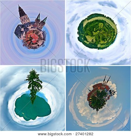 Ecological Concept Nature And City On The Earth Palnet.