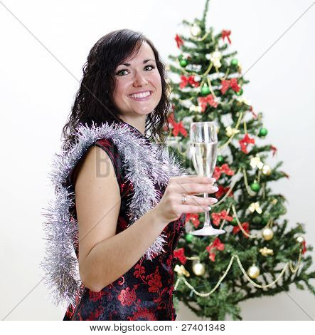 Christmas: Girl Congratulates With Glass Of Wine