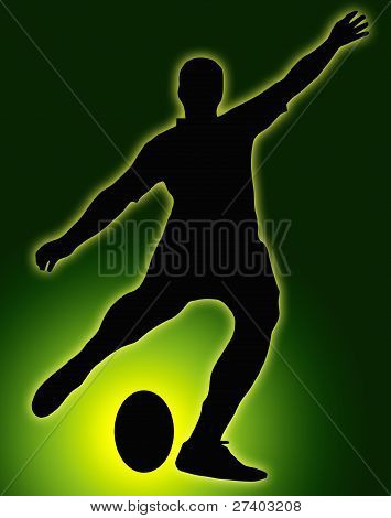 Green Glow Ball Sport Silhouette - Rugby Football Kicker