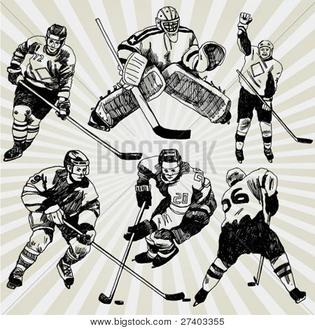 Hand Drawn Vector Illustration of Hockey Players