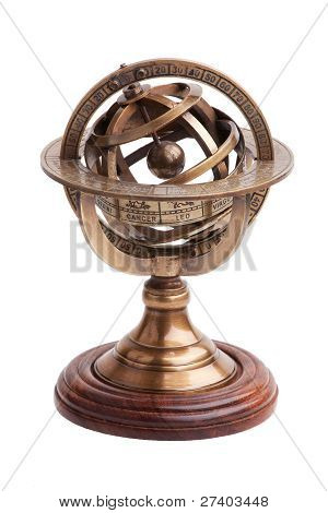 Antique Brass Armillary Sphere On A Wooden Stand