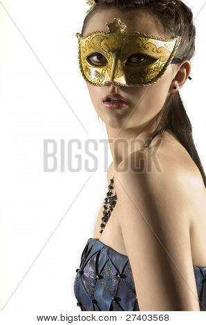 Young Teen Woman At Masquerade Ball