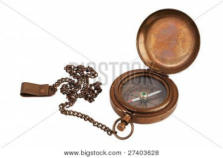 Pocket Antique Brass Compass With Chain
