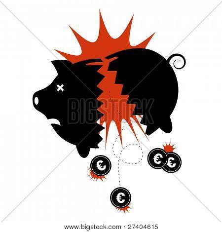 Euro financial crisis concept. Broken piggy bank with Euro coins dropping out.