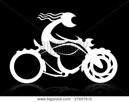 Night motorcycle rider