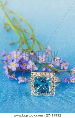 Elegant Jewelry And Blue Flowers