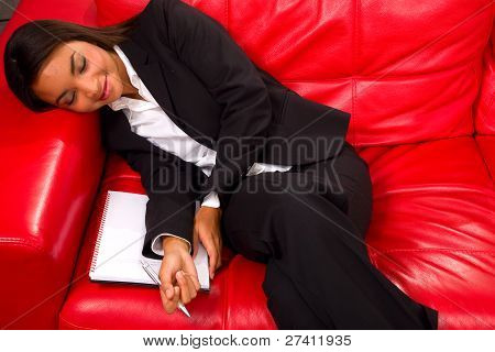 Businesswoman Sleeping On The Sofa