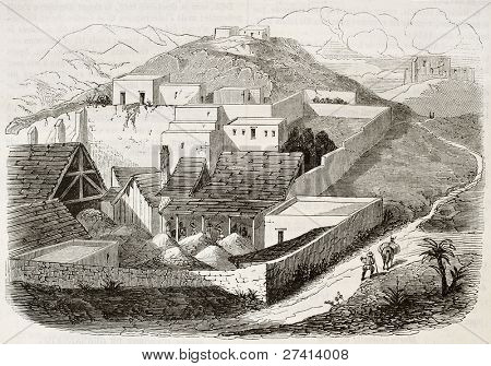 Rayas silver mine establishment old illustration, Guanajuato, Mexico. Created by Fores, published on Magasin Pittoresque, Paris, 1844