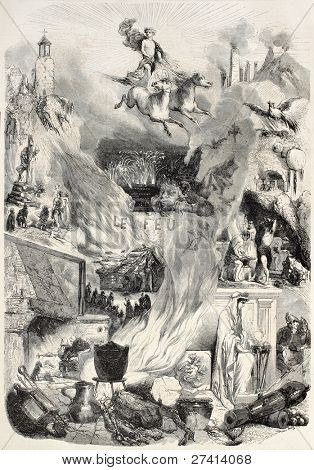 Fire old allegoric illustration. Created by Nanteuil, published on L'Illustration, Journal Universel, Paris, 1858