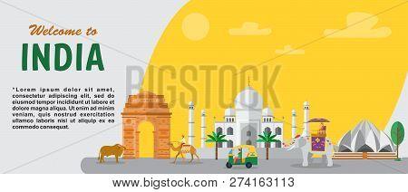India Travel Banner Landscape Of