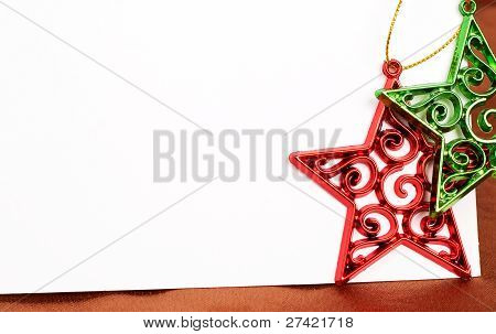 Two Christmas Star Decorations And Card