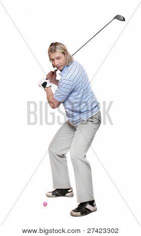Golfer on a white background. Studio shot.