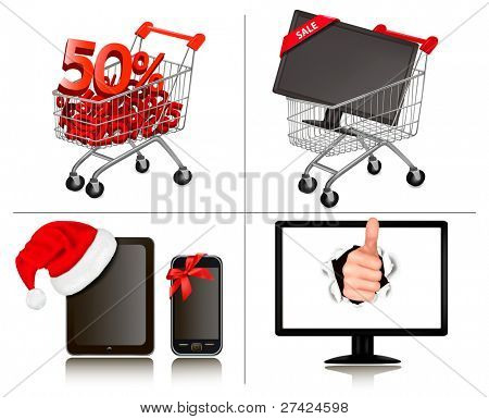 Set of shopping and business backgrounds. Concept of discount. Vector illustration.