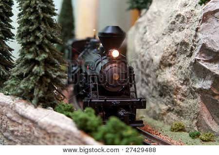 Model Locomotive On Track Layout With Headlamp