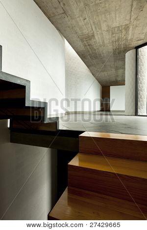 interior modern villa,  wooden staircase