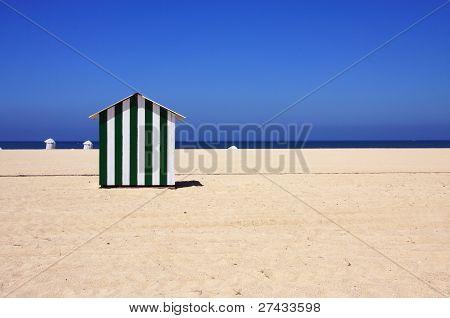 Portugal Figueira da Foz - 'candy-striped' beach hut