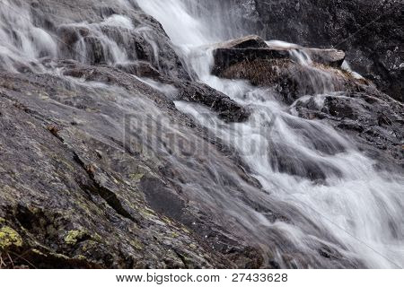 Small waterfall on a mountain in the French Alps