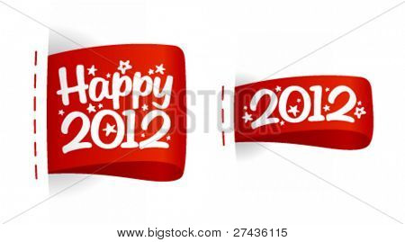 Happy 2012 New Year labels.