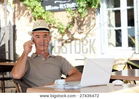 Man sitting on a terrace