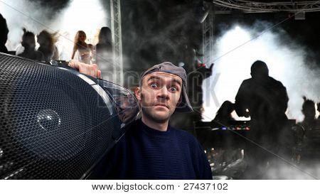 Man With Boom Box On Disco