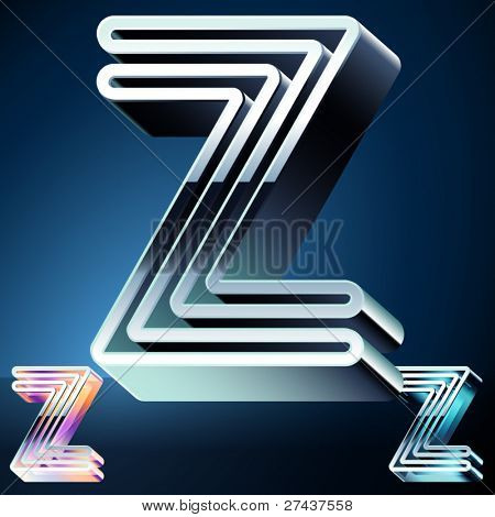 Three-dimensional ultra-modern alphabet from chrome or metal letters. Character z