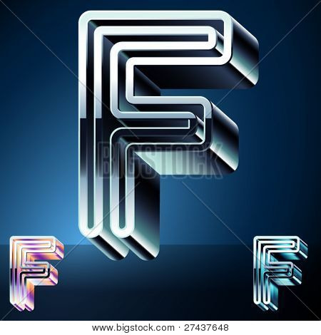 Three-dimensional ultra-modern alphabet from chrome or metal letters. Character f