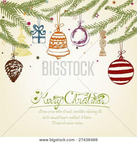 Colorful Handdrawn Retro Christmas Ornaments