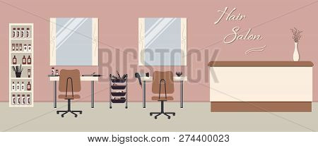 poster of Hair Salon Interior In A Pink Color. Beauty Salon. There Are Tables, Chairs, Mirrors And Shelves Wit