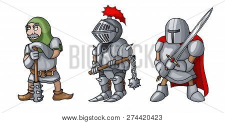 Cartoon Colored Three Medieval Knights