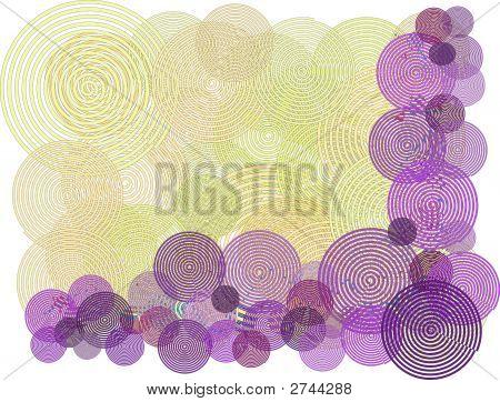 Yellow Purple Swirl Border Background