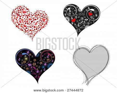 A set of creative & decorative hearts shape on white background for Valentine Day.