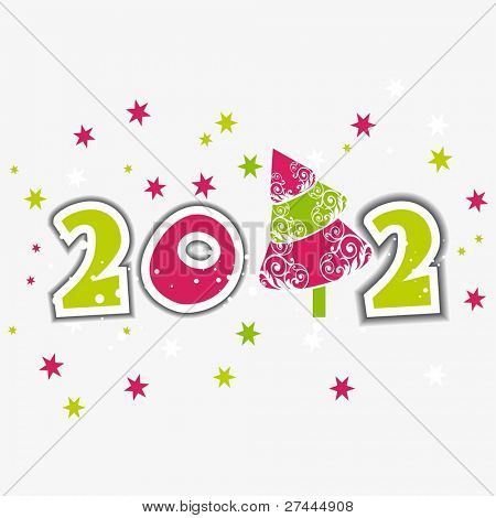 Greeting Card with stylish text 2012 in green & pink color with stars on white Background for Christmas & other occasions.