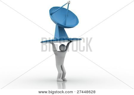 3D man lifting satellite dish