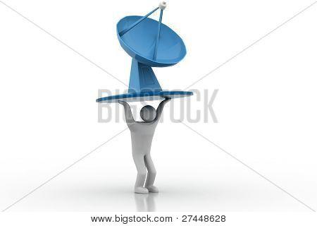 3D man lifting satellite dish