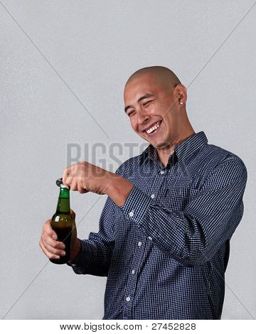 Man Opening A Beer