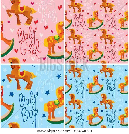 seamless pattern with toys horses - design for kids
