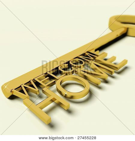 Key With Welcome Home Text As Symbol For Property And Ownership