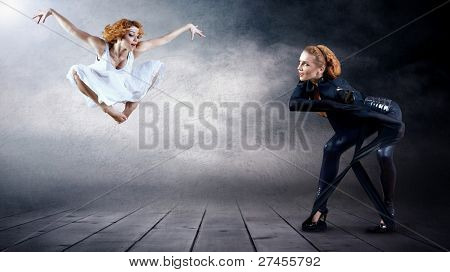 Black and White Dancers in posing on background (on photo - one person)
