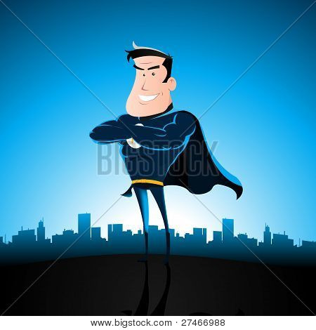 Cartoon Blue Superhero