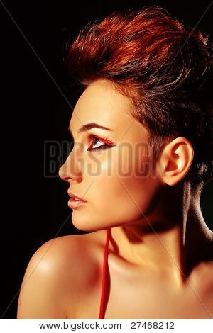 beautiful woman with short hair
