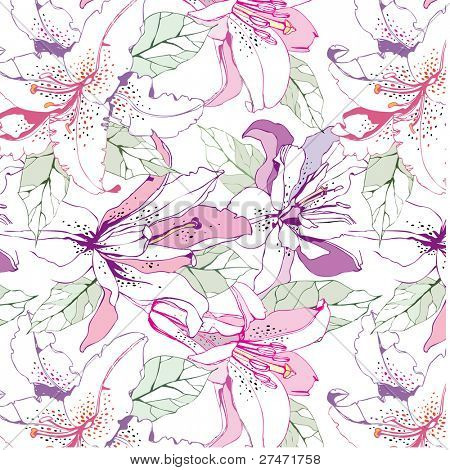 seamless pattern with lily