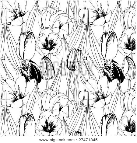 seamless pattern with black and white tulips