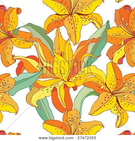 seamless floral background with yellow lilies