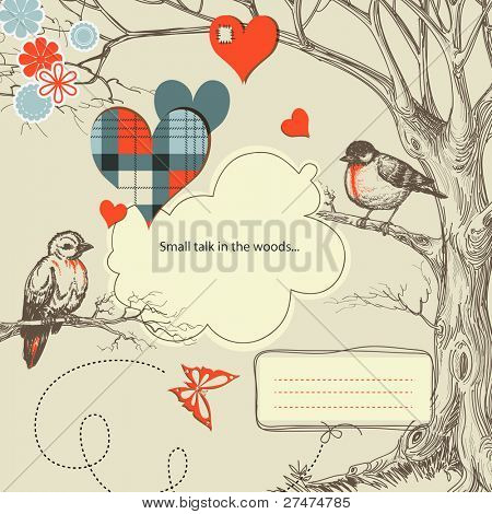 Love birds talk in the woods vector illustration