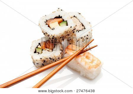 sushi on white