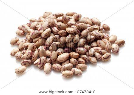 borlotti beans on white