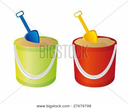 bucket and shovel vector