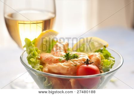shrimp cocktail  and wine