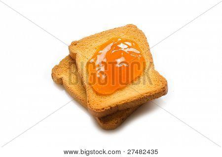 apricot jam over toast