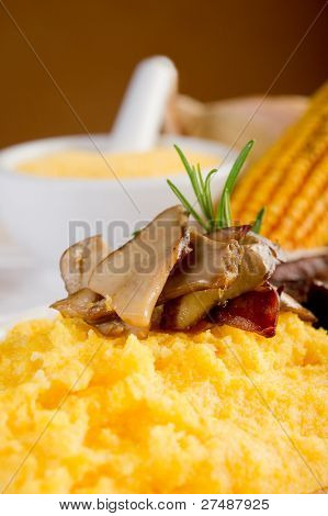 polenta  and edible mushroom